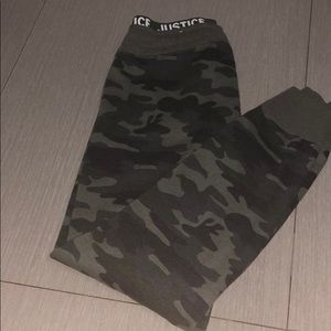 A camouflage girls sweatpants